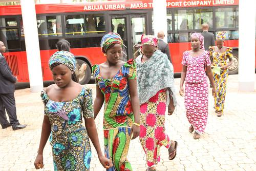 The escaped Chibok girls arrive at the meeting with President Jonathan