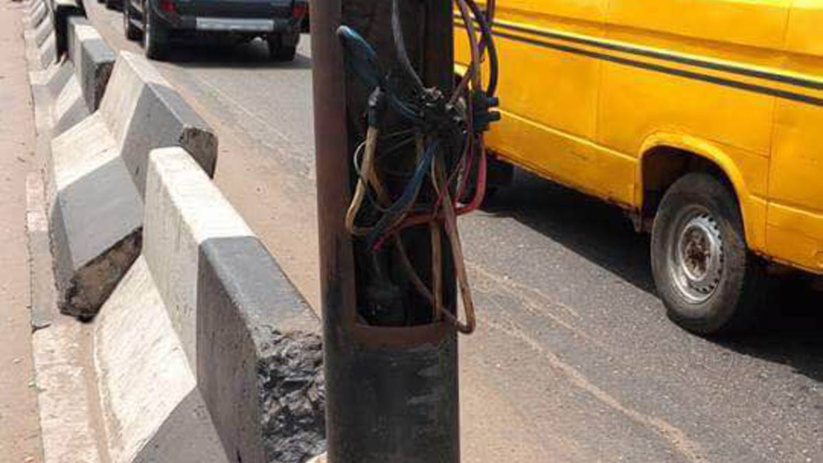 Electric wires from a street light that killed Yewande