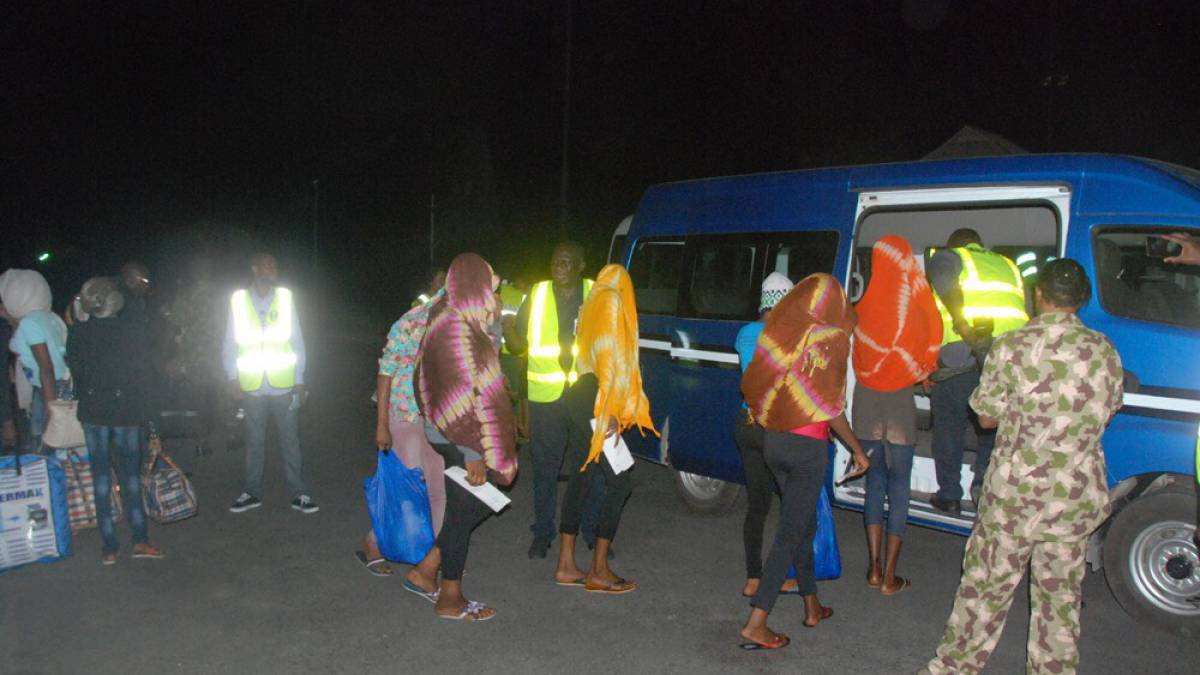 Nigerian human trafficking victims at Murtala Muhammed International Airport after being evacuated from Mali