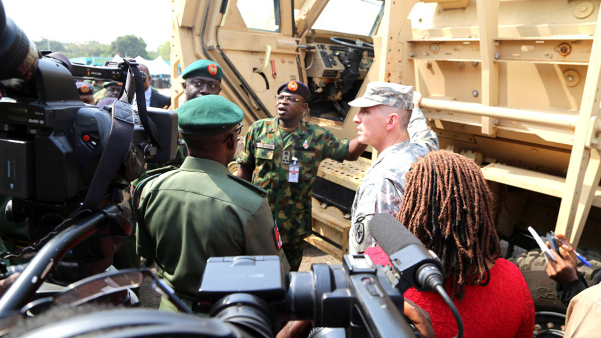 Major General BT Ndiomu Inspects One Of The Mine-Resistant Vehicles