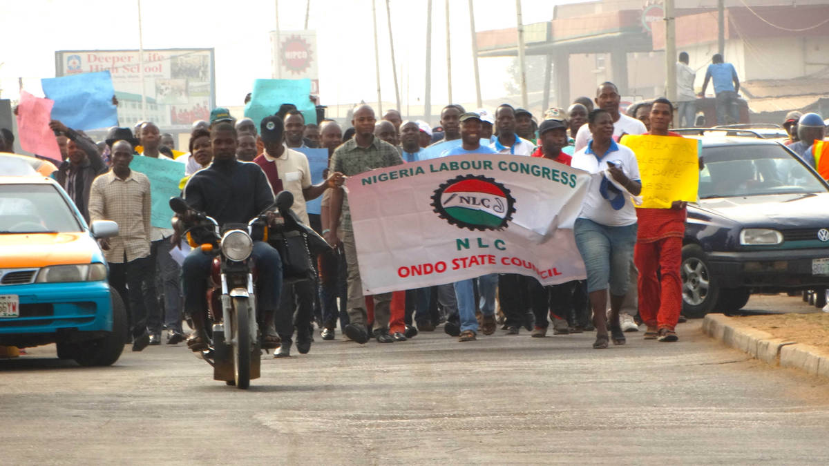 Protesting Labour Leaders In Ondo State