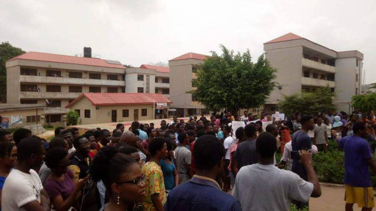 Students protesting hike in fees