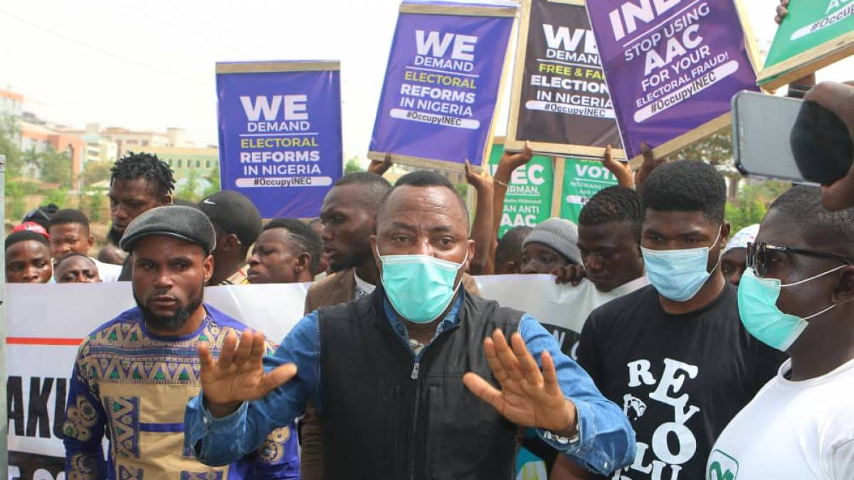 Omoyele Sowore at #OccupyINEC Protest today.