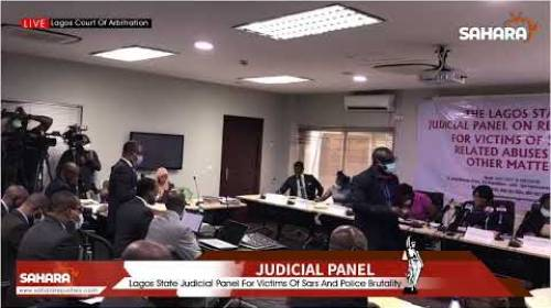 #EndSARS: Lagos State Judicial Panel Viewing CCTV Footage Of Lekki Tollgate  Shooting