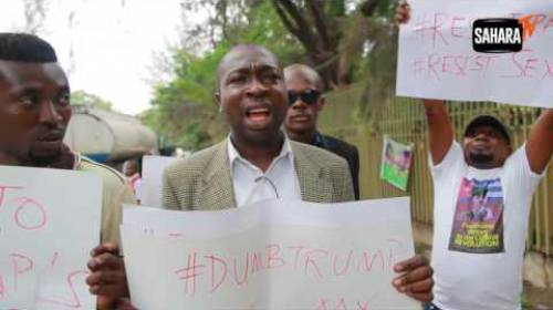 Nigerian Civil Society Groups Stage Resistance Protest Against Donald Trump As He Gets Inaugurated